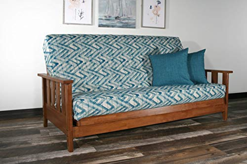 Strata Furniture Canby Warm Cherry Full Wall Hugger Futon Frame - Room Frame Futon Cherry Living