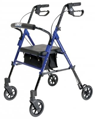 Lumex Set N' Go Adjustable Rollator-Silver Seat Height Adjusts From 18''-22'', 14 Pound