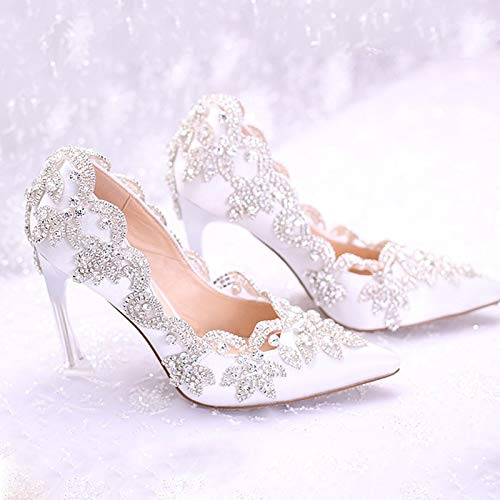 SFSYDDY Shoes Fine Heels shoes Dress White 38 Crystal Super Shoes Banquet Tips Bride Wedding High Heels Shoes Heels Flowers Water Diamond white Shoes New Single 11SwxOzrq