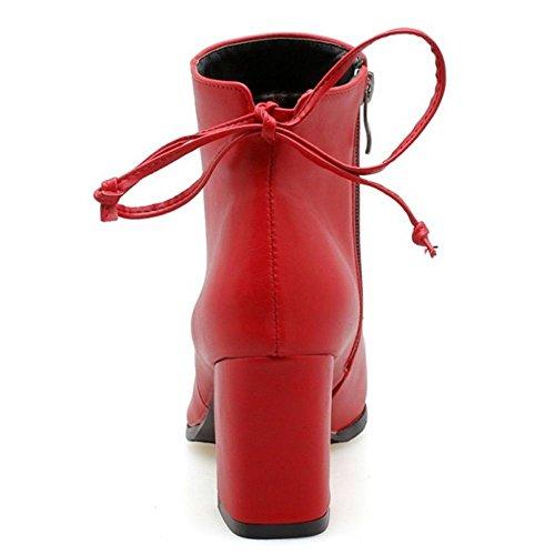 con RAZAMAZA Elegante Botines Red Moda Tacon de Mujer para Cremallera Alto HHqYnr6