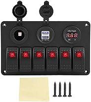 6 Gang Switch Panel 12V 24V Car Boat Marine Caravan LED Rocker ON-Off Toggle Switch Panel Dual USB Voltmeter C
