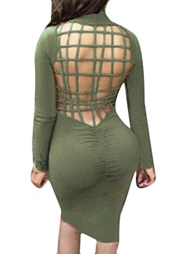 Le Cou De Tortue Confortables Femmes Solide Mode Plein Dos Robe Moulante Club Creux Vert
