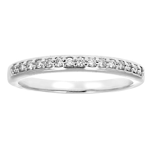 Diamond Ring Wedding Band Rings - 1/8 ctw Petite Diamond Wedding Band in 10K White Gold In Size 7