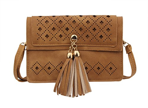 Brown for Tassel Double Teen Girls l Bag Small Phone Women Compartment with Crossbody Purse w71xxI5qY