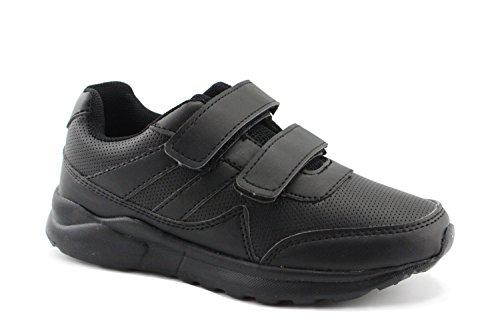 KIDS BLACK/WHITE HOOK AND LOOP SCHOOL UNIFORM SNEAKER (3.5, (Shoes For Back To School)