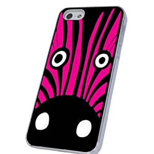 Cute Zebra Face Funky Design-iphone 5 5S Case/Back cover Metal and Hard Plastic Case-Clear Frame