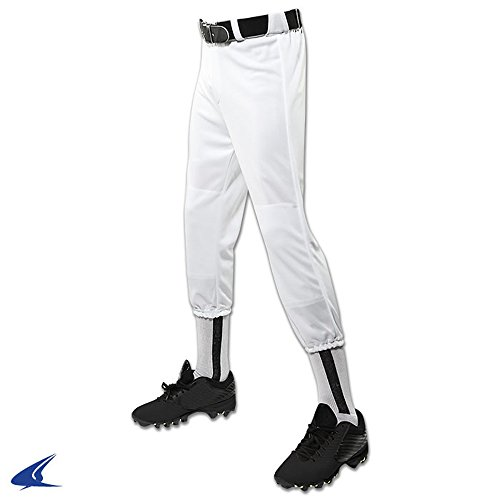 CHAMPRO Performance Pull-Up Baseball Pant With Belt Loops Youth White Youth L BP1Y BP1YWL