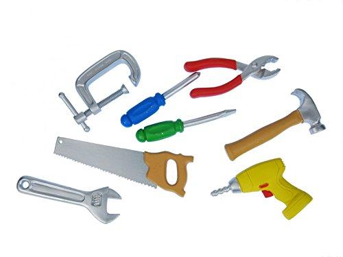 7x Kit d'outils de construction miniblings Figurine de Atelier artisans miniature en plastique