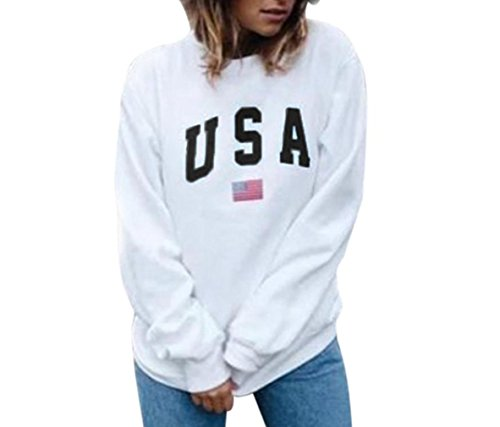 Women Fashion Sweatshirt,Lelili USA Letter and Flag Printed Long Sleeve Crewneck Casual Pullover Tops – DiZiSports Store