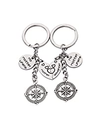 WUSUANED Split Broken Heart Mother Daughter No Matter Where Compass Keychain Set Mom and Me Jewelry Gift