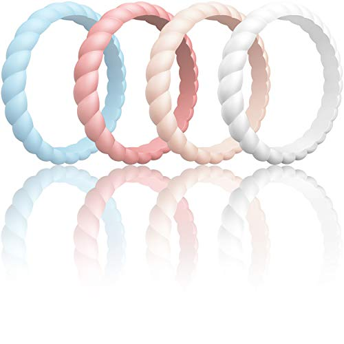 Glowing Engagement Ring (ThunderFit Womens Thin Swivel Rings, 4 Pack (Light Blue, Faint Red, Pink Sand, Rice White, 7.5-8)