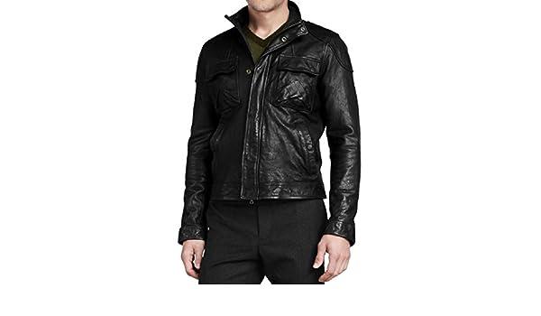 New Men Motorcycle Black Cow Leather Jacket Coat Size XS S M L XL LTC081