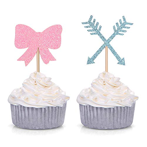 Bow or Arrow Cupcake Toppers Gender Reveal Party Cupcake Toppers Dessert Decorations (Set of 24)]()