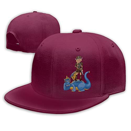 Shenigon Dragon Warrior Flat Visor Baseball Cap, Fashion Snapback Hat Dark Red