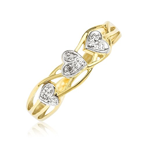 Bague - 9 - RC073DI - Femme - Or jaune (9 carats) 2.44 Gr - Diamant
