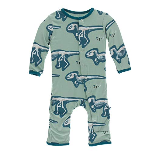 Kickee Pants Little Boys Print Coverall with Snaps - Shore T-Rex Dig, 2T ()