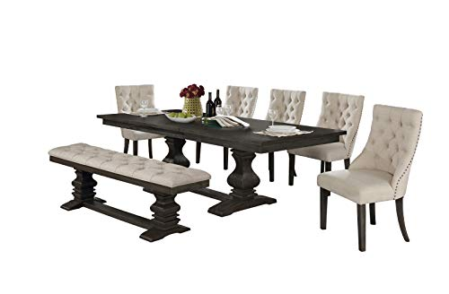 Best Quality Furniture 7 Piece Dining Set, Beige
