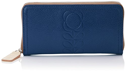 Embossed Flower Leather Big Zip Wallet Wallet, Indigo, One Size by Orla Kiely