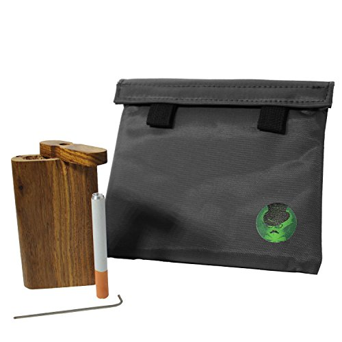 Discreet Smoker Smell Proof Bag with Raw Natural Wood Storge Container...