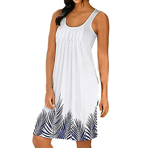 Usstore  Womens Mini Dress Spring Summer Fashion Sexy Sleeveless Leaves Print Pleated Holiday Beach Daily Vest Dress (XL, ()