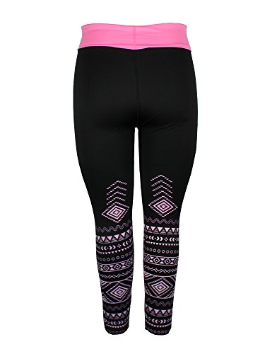 Crush Womens High Waist Fold Over Aztec Print Athletic Leggings 3X Large Pink