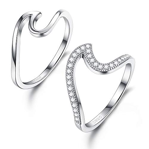 Sllaiss 2PCS 925 Wave Rings for Women Girls Sterling Silver CZ Dainty Stacking Rings Cubic Zirconia Engagement Band Ring Set (2PCS 6#)