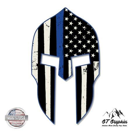 Spartan-Helmet-Thin-Blue-Line-Flag-Grunge-Vinyl-Sticker-Waterproof-Decal