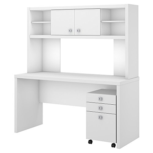 Office by kathy ireland Echo Credenza Desk with Hutch and Mobile File Cabinet in Pure White ()