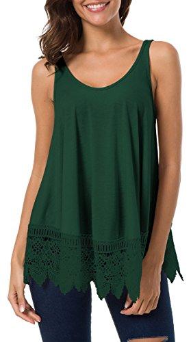 Jyccr Women Casual Flowy Cami Tank Top with Crochet Lace Hem (Green, M)