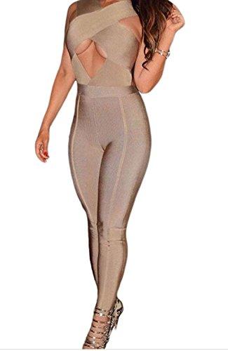 Miss Petite Unlined Jacket (Black Friday FQHOME Womens Khaki Cross Bust Bandage Jumpsuit Size M)