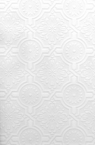 Brewster Nazareth Ornate Tiles Paintable Wallpaper Paintable