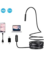 USB-C Endoscope, Depstech Semi-rigid Type-C Borescope Inspection Camera 2.0MP CMOS HD Waterproof Snake Camera with 6 Adjustable Leds for Android, Windows & Macbook OS Computer - 16.4ft(5M)
