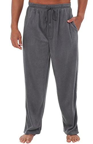 Alexander Del Rossa Mens Fleece Pajama Pants, Long Microfiber Pj Bottoms, Large Steel Grey - Fleece Lounge Pants
