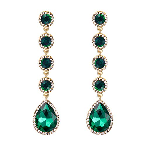 (BriLove Wedding Bridal Dangle Earrings for Women Elegant Crystal Teardrop Chandelier Earrings Emerald Color Gold-Toned)
