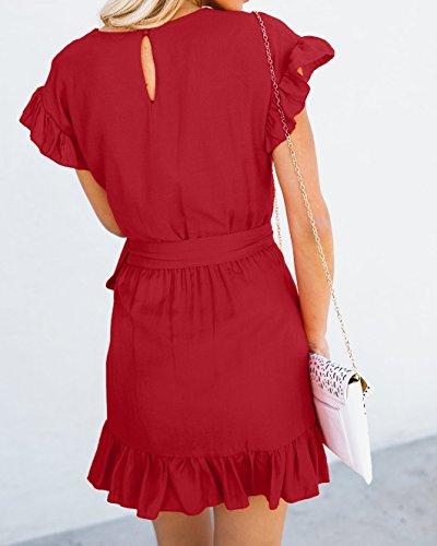 6209edeb533 Yobecho Womens Summer Short Sleeve Ruffles Tunic Party Shift Wrap Short  Dresses