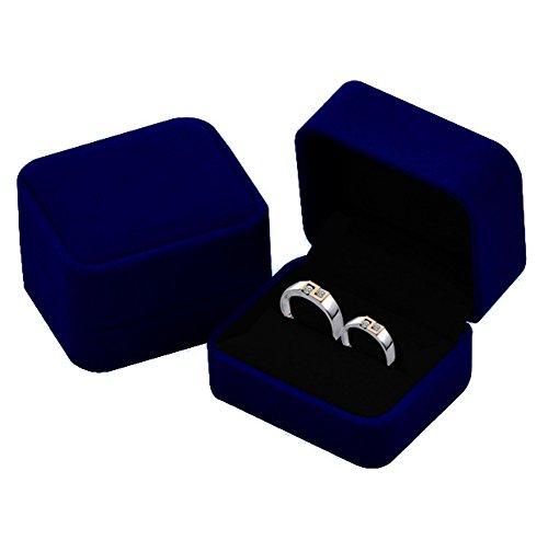 KINGWEDDING Flocked Earring Gift Boxes Jewelry Box,Rings Boxes (Blue) (Ring Box Blue)