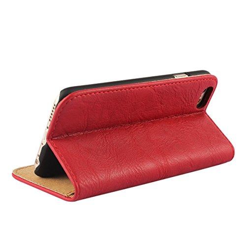 """MOONCASE Tasche Flip Leder Schutzhülle Etui Case Cover Hülle Schale für iPhone 6 (4.7"""") Rot"""