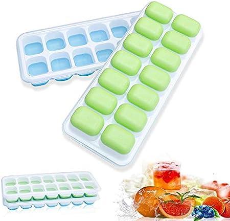 2 piezas de bandejas de silicona para cubitos de hielo con tapa antideslizante, 14 moldes de cubitos de hielo de fácil liberación y flexibles, ideal para congeladores, agua, whisky
