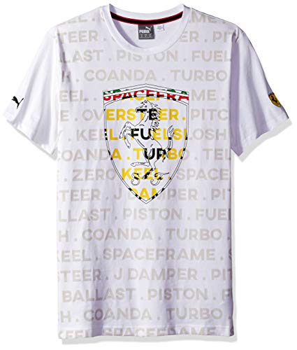 (PUMA Men's Standard Scuderia Ferrari Big Shield T-Shirt, Soft Pink White, XX-Large)