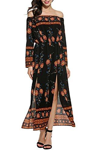 Zeagoo Women Sexy Off Shoulder Bohemia Floral Print High Slit Maxi Beach Dress