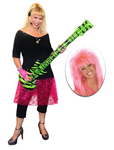 Rocker Chick Pink Lace Plus Size Supersize Halloween Costume Deluxe Pink Wig Kit 3x]()