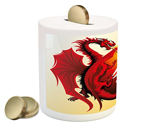 Dragon Piggy Bank by Ambesonne, Saint George with Fire Spitting Winged Creature Royal Knight Graphic, Printed Ceramic Coin Bank Money Box for Cash Saving, Silver Ruby Earth Yellow (Graphic Winged)