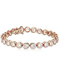 "Plated Sterling Silver Bezel-Set Cubic Zirconia (6 mm) Tennis Bracelet, 7.5"""