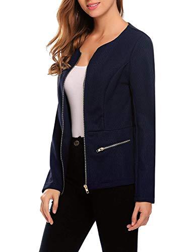 Lunghe Donna Tempo Moda Business Coat Camicia Primaverile Jacket Schwarz Colori Elegante Cerniera Outerwear Autunno Da Maniche Solidi Libero Giorno Con Tailleur Giacca YdPvq