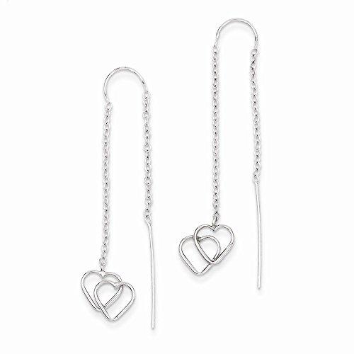 14k White Gold Double Heart Threader Earrings