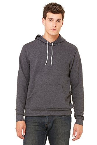 Hooded Pullover Bella (Bella mens Unisex Poly-Cotton Fleece Pullover Hoodie(3719)-DK GRAY HEATHER-2XL)