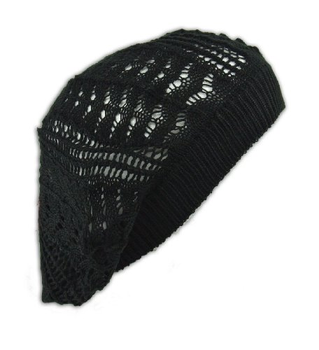 Womens Fashion Crochet Beanie Hat Knit Beret Skull Cap Tam (Black)