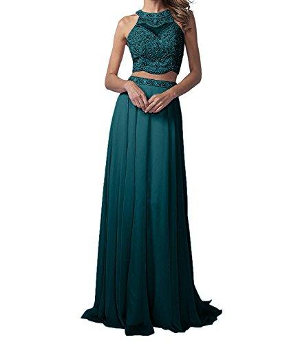 Marie Langes A Linie Rock Promkleider Zwei Chiffon Partykleider Abendkleider Gruen Braut teilig Perlen Blau La dECPqd