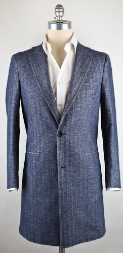 New Borrelli Denim Blue Coat 38/48