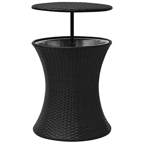 Daonanba Durable Simple Ice Cooler Bucket Table Poly Rattan Black 3-in-1 Drink Cooler/Party Table /Coffee Table